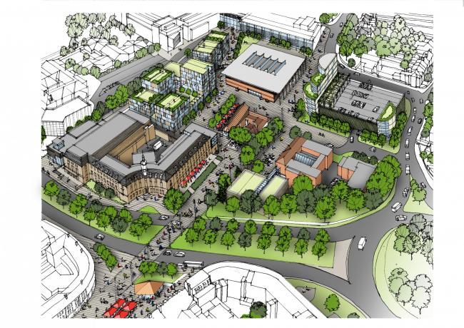 An overview of the town hall site and how it may look if the draft masterplan is adopted. Credit: Watford Borough Council