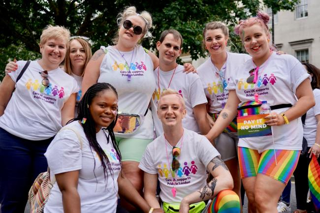Over the rainbow: Care UK staff in London for the Pride march