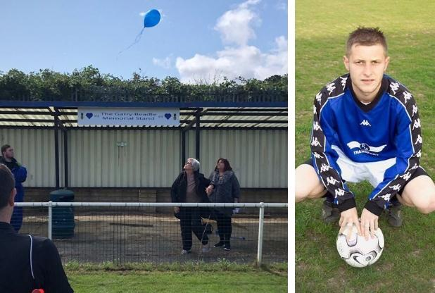The club unveiled the stand on Saturday in honour of Garry Beadle (right)