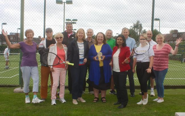Anyone for tennis? Rupa Huq (in red) meets Marina Foxlee