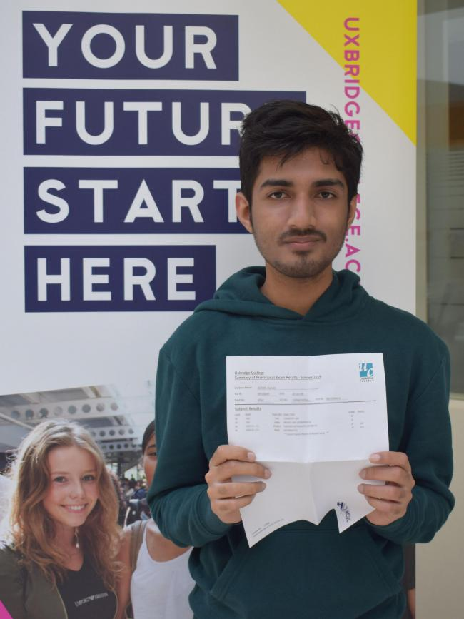 Rumail Azhar (pictured) and Maryam Mahmood are both going to Cambridge University thanks to their top A Level results at Uxbridge College