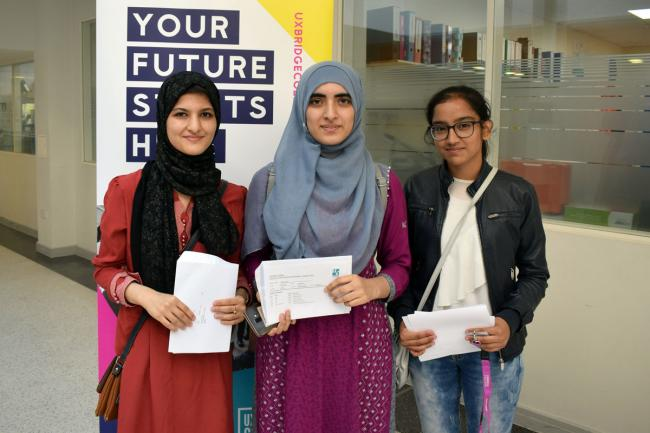 Nazila Nadiri, Iqra Razzaq and Simranjit Kaur, are all coming back to Uxbridge College to do A Levels after achieving excellent GCSE results on the college's one year full time programme.