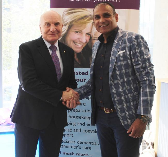 Relaunch: Steve Pound MP with Home Instead owner Tony Hussain