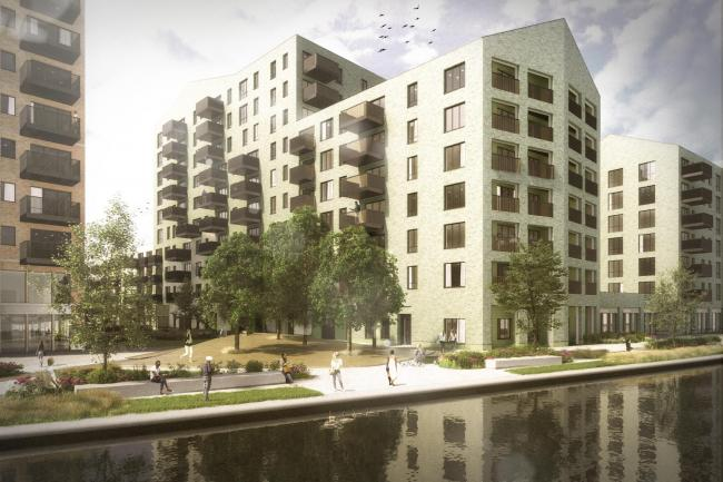 Canalside scheme: artist's impression of the site, off Clayton Road