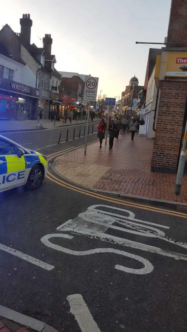 Police in the High Street yesterday afternoon (photo credit Red Eagle Buses)