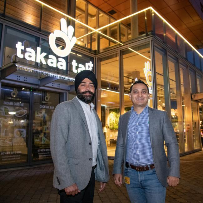 Open for business: Takaa Tak restaurateur Bhupinder Singh with Staycity cluster general manager Ujjwal Chaudhary