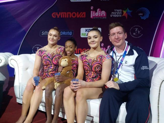 Uxbridge College Sports student Trudie Roper (second right) pictured with her teammates and coach following their European gymnastics success for Great Britain.