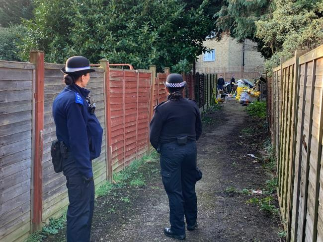 Police supervising the clear-up operation (Photo: @MPSGreenhill)