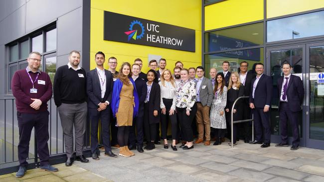 Flying: Heathrow UTC students with airport staff in Northwood