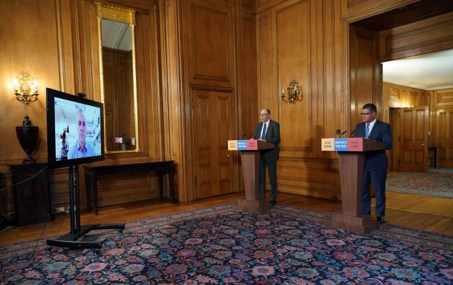National Medical Director at NHS England Stephen Powis and Business, Energy and Industrial Strategy Secretary Alok Sharma answering questions from the media via a video link. Photo:Pippa Fowles/Crown Copyright/10 Downing Street/PA Wire