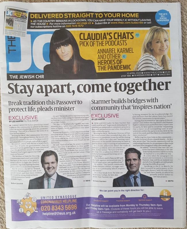 The front page from the latest edition of the Jewish Chronicle