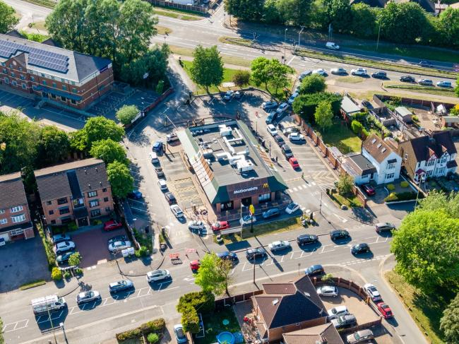 This image was captured yesterday of McDonald's in drive thru with queues tailing around the restaurant. Credit: The Drone Photo Company