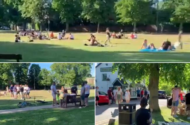 Video grabs showing groups of people in Watford Heath on the hottest day of the year. Photo: UGC