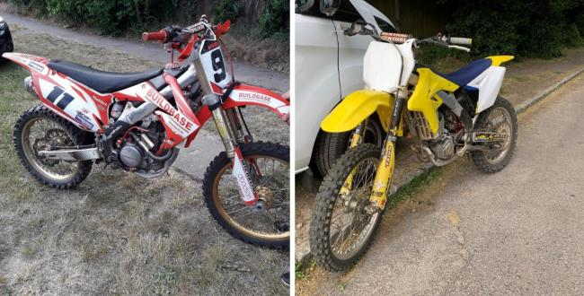 Police have seized two dirt bikes as part of a month-long operation targeting illegal off-raod motorcycling in Three Rivers. Photo: Herts Police