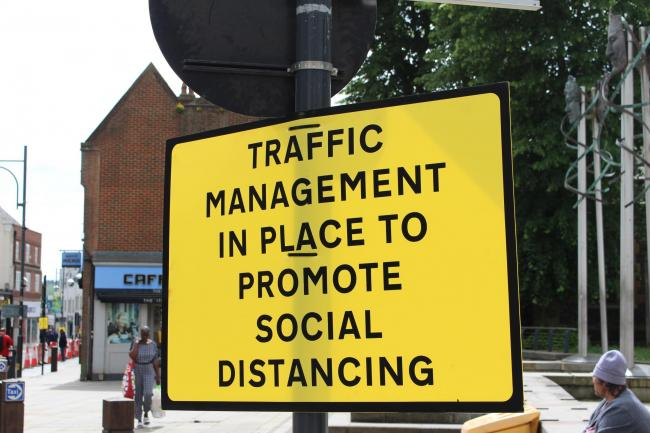 Hertfordshire towns and villages are full of bright yellow social distancing signage