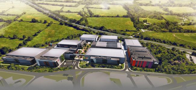 A CGI birds-eye view of Sky Studios Elstree, which was given the green light last night. Credit: Sky