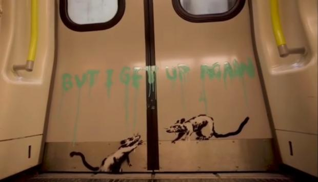 Hillingdon Times: 'I get locked down, but I get up again': Banksy's positive message to London (Photo: Banksy).