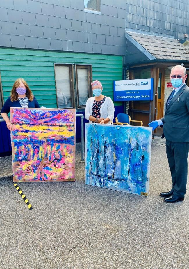 Helen Nicell (Left) and artist Helen Lack (Middle) have donated two paintings to Mount Vernon Hospital. Credit: Helen Lack