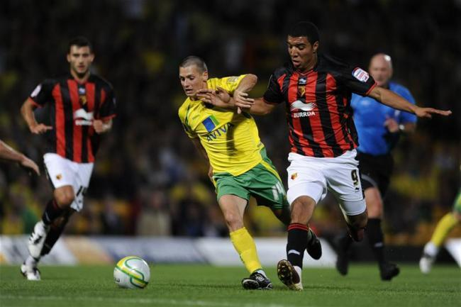 Troy Deeney making his Hornets debut in the win at Norwich City in 2010. Photo: Action Images