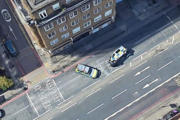 Hillingdon Times: The police cars pictured in London. Credit: Reddit/Google Maps