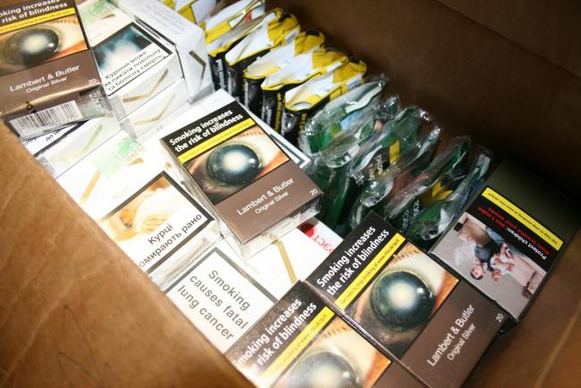 Hidden  upstairs: part of the stash of counterfeit and smuggled cigarettes