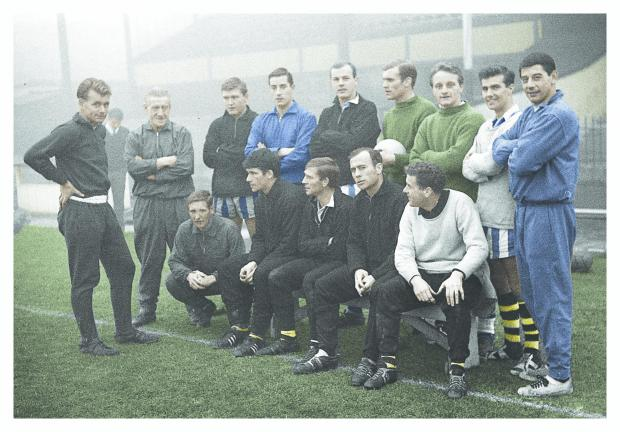 Hillingdon Times: A colourised image of Watford's 1964/65 team