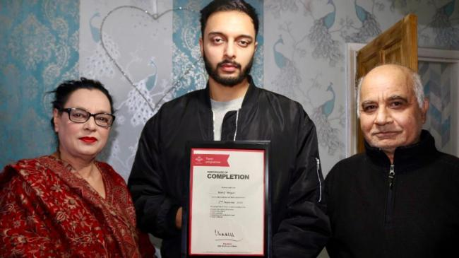 Wasif Waqar pictured with his parents
