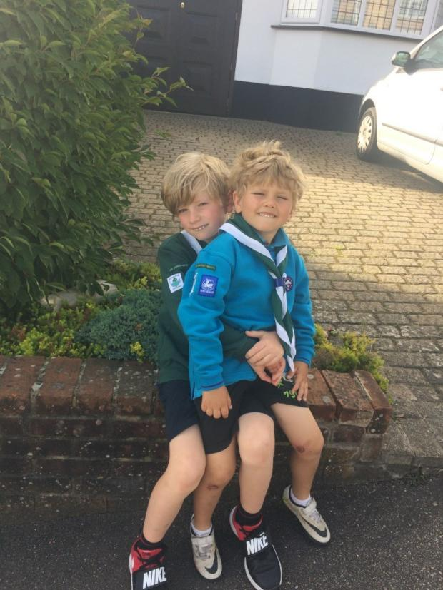 Hillingdon Times: Rhys pictured with his brother Sam, who was part of the Beavers in Rickmansworth and Chorleywood district