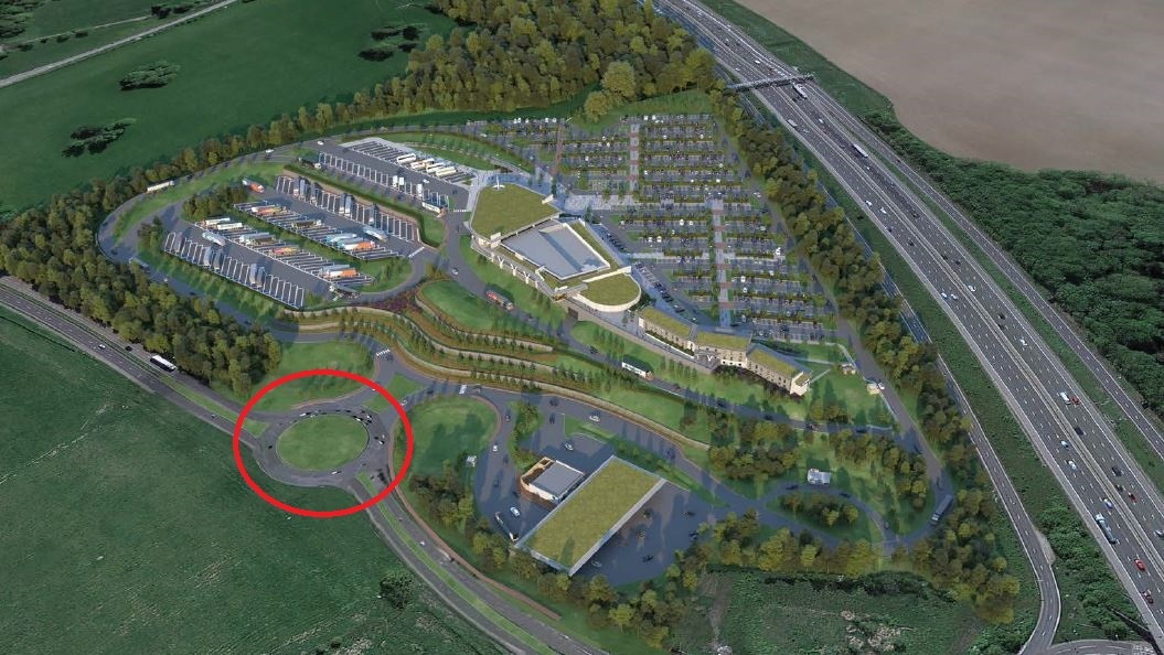 The new roundabout which would be built on the A41 is circled