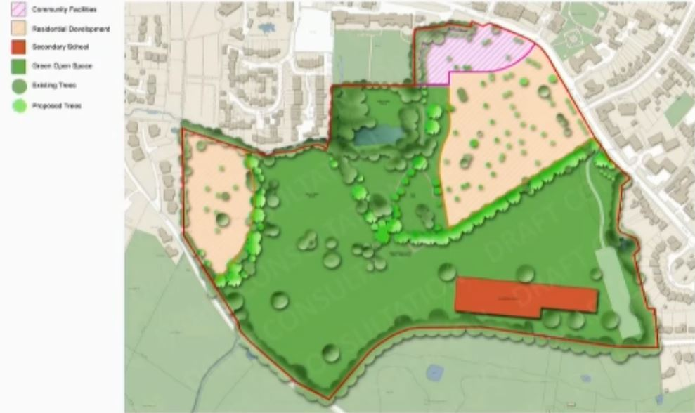 A masterplan shown to the public tonight. The red building is the secondary school and beige areas are marked as residential development. Credit: Hertsmere Borough Council