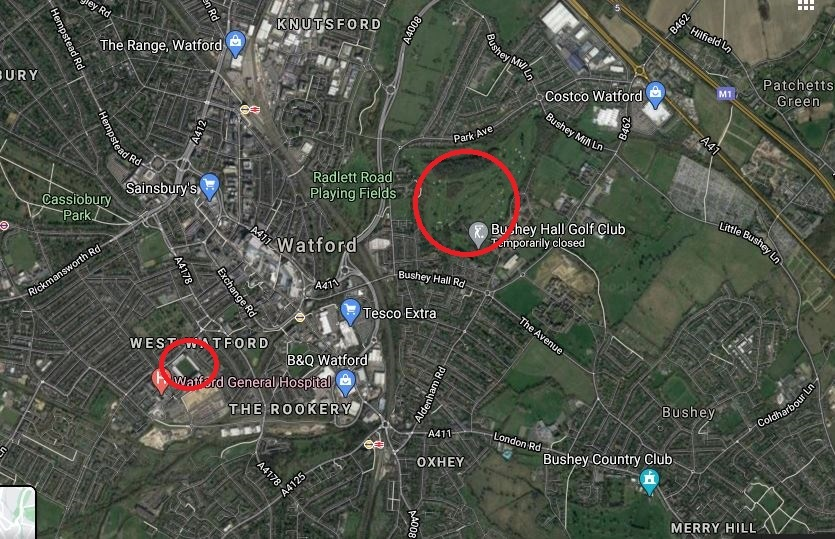 This map shows the locations of Bushey Hall Golf Club and Watfords current home, Vicarage Road. Credit: Google Maps