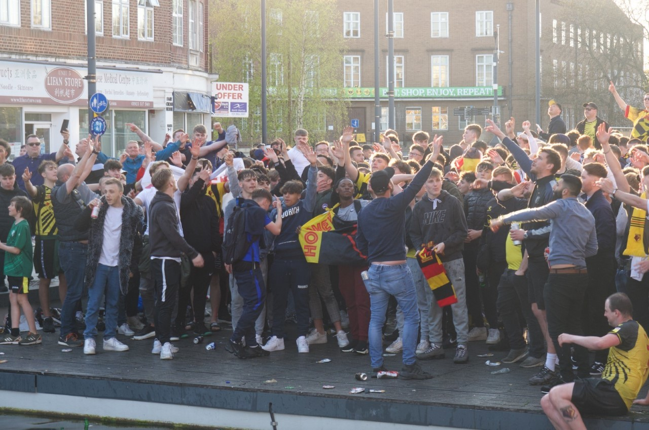 Watford fans were celebrated promotion in the town centre yesterday. Photo: Ryan Gray