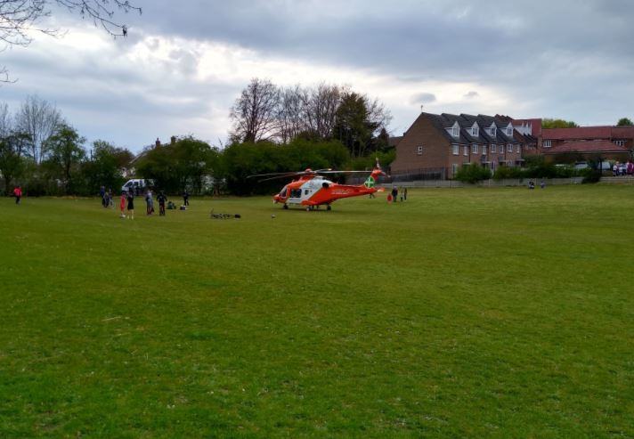A MAGPAS air ambulance in Woodside on Tuesday