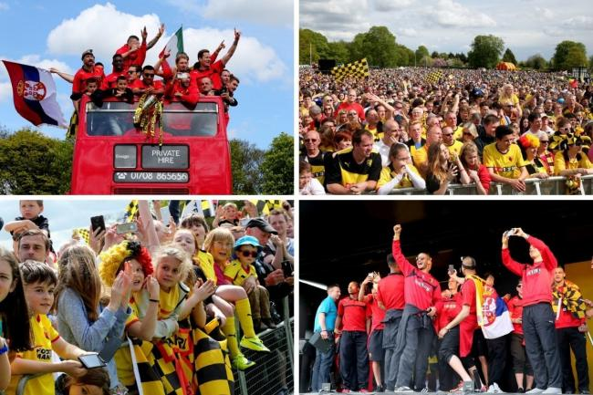Four of the scenes of celebration from six years ago. Pictures: Holly Cant