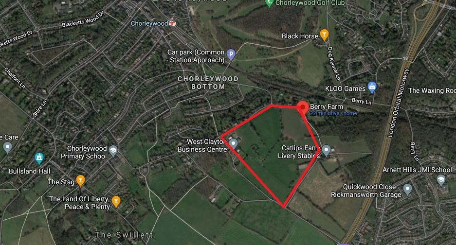 Outlined in red is roughly land south of Berry Lane in Chorleywood that wont be taken forward in Three Rivers District Councils local plan. Credit: Google