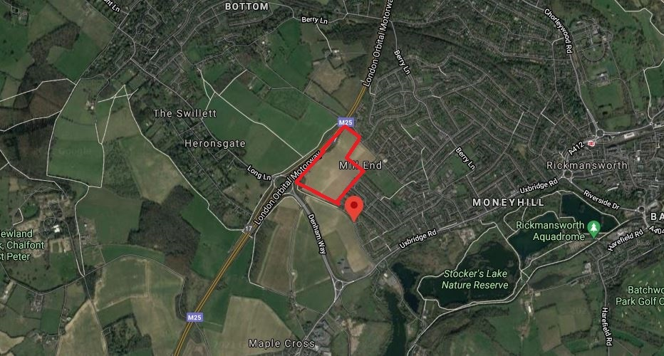 Outlined in red is roughly land off Long Lane in Mill End. Credit: Google