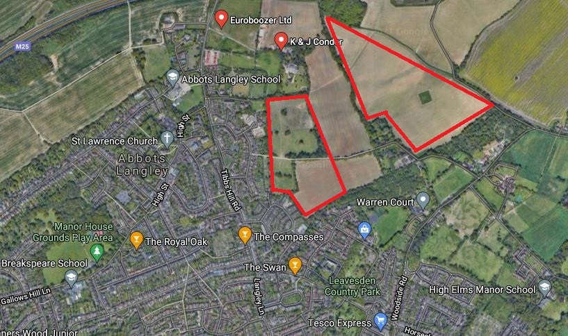 The bottom outline is the rough area of land at Notley Farm while the top outline is land between East Lane and the M25 that has also not been taken forward. Credit: Google