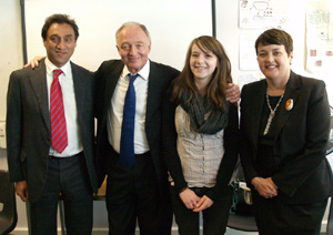Uxbridge College student Jessica Puplett, 19, with Labour's Ken Livingstone and (far left) Dr Onkar Sahota the party's London Assembly Candidate for Ealing and Hillingdon, and Assembly Member Val Shawcross