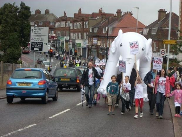 White elephant: familiar symbol of HS2 protesters, seen here in Ruislip High Street