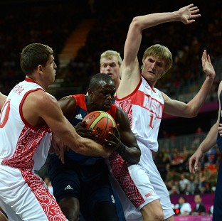 Great Britains Luol Deng impressed against Russia
