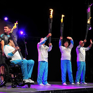The Cauldron is lit in Stoke Mandeville as the four flames unite