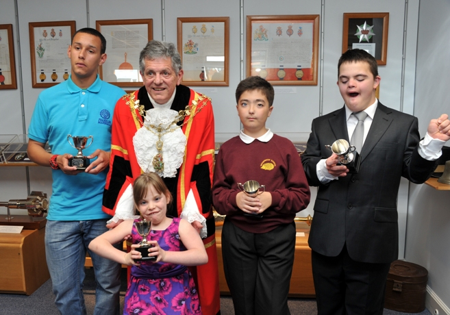 Achievers: the young winners with Cllr Michael Markham, the mayor