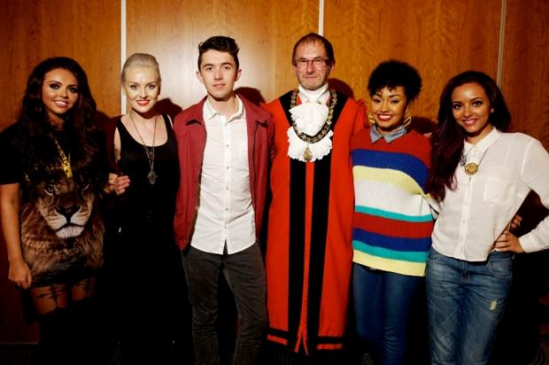 Star-studded: Deputy mayor Allan Kauffman with Little Mix and Ryan
