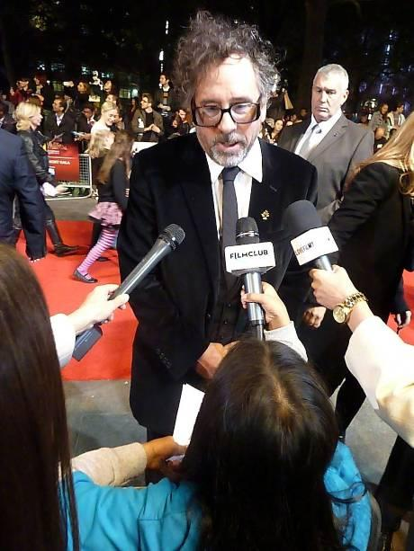 In the spotlight: Tanvi is is in the foreground as Tim Burton is interviewed