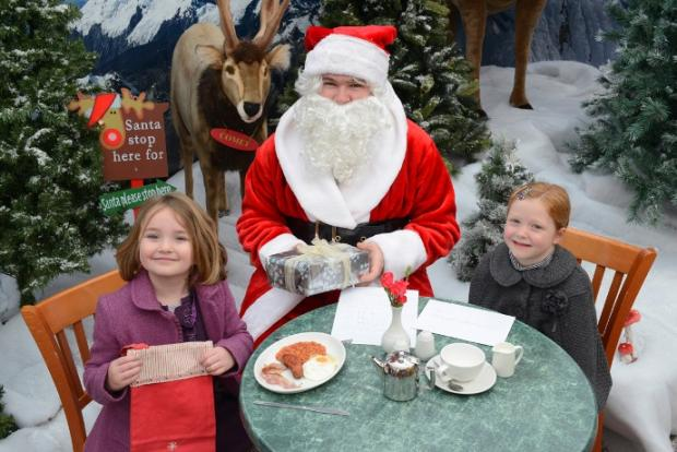Seasonal friend: Santa meets new friends
