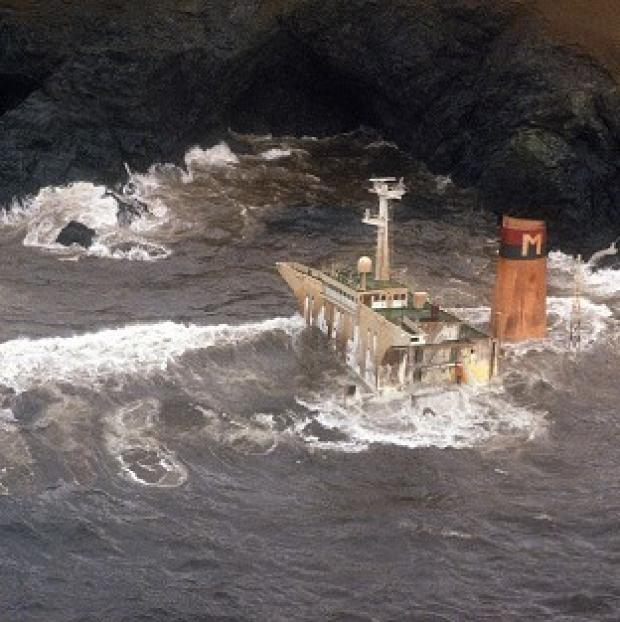 The tanker Braer is awash as heavy seas pound the wreck near Sumburgh in the Shetlands