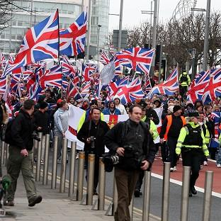 Loyalist protestors converge on Belfast City Hall