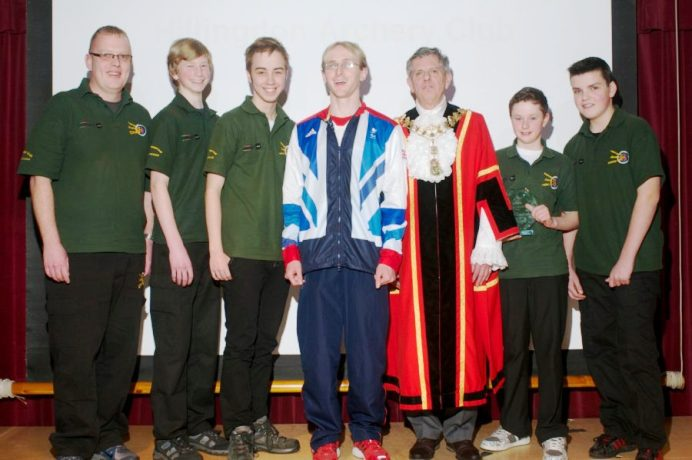 On target: The mayor with members of Hillingdon Archery Club