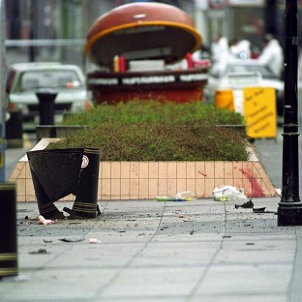 The site outside a Boots store in Warrington where an IRA bomb exploded 20 years ago, killing two young boys