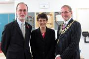 Uxbridge College opens its £6.2m development supported by LBH. Left-right: Cllr Douglas Mills, Laraine Smith, and the Mayor of Hillingdon Cllr Allan Kauffman